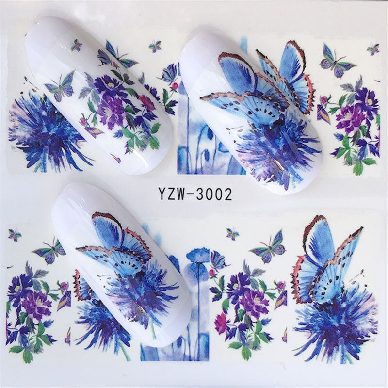 YZWLE Flower Series Nail Art Water Transfer Stickers Full Wraps Deer/Lavender Nail Tips DIY