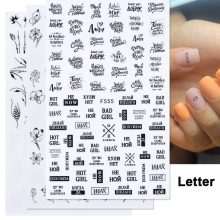 1pcs 3D Nail Slider Black Russia Letter Sticker Decals  Flamingo Design Adhesive Manicure Tips Nail Art Decorations CHF554-563