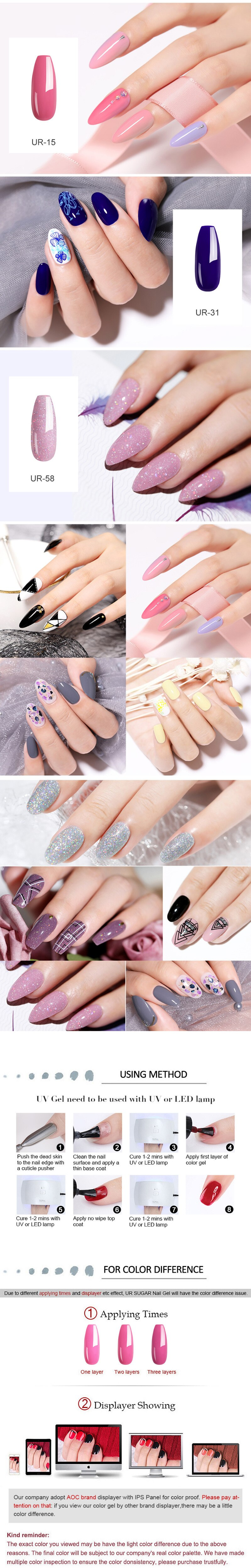 UR SUGAR Glitter UV Gel Nail Polish Set Nude Color Series Led Nail Gel Varnish Semi Permanent Nail Lacquer Sequins Gel 2pcs/set