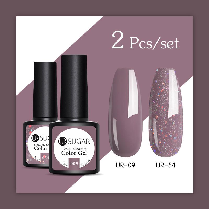 UR SUGAR Glitter UV Gel Nail Polish Set Nude Color Series Led Nail Gel Varnish Semi Permanent Nail Lacquer Sequins Gel 2pcs/set