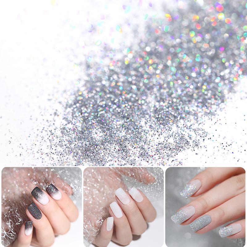 Gradient Shiny Nail Glitter Set Powder Laser Sparkly Manicure Nail Art Chrome Pigment Silver DIY Nail Art Decoration Kit