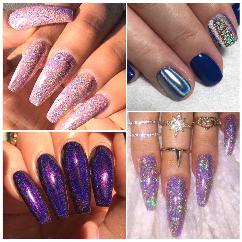 1Box Glitter for Nails Holographic Dip Powder Mirror Polishing Chrome Pigments Nail Art Decorations Laser Dazzling Dust LA1028-1