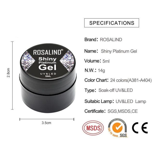 ROSALIND  Hybrid Varnishes Gel Nail Polish Set Glitter Platinum Painting Nails Art Poly UV Gellak Top Base Primer For Manicure