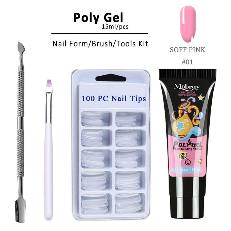 4pcs/kit Poly Gel Set LED Clear UV Gel Varnish Nail Polish Art Kit Quick Building For Nails Extensions Hard Gel Polygel Nail Kit