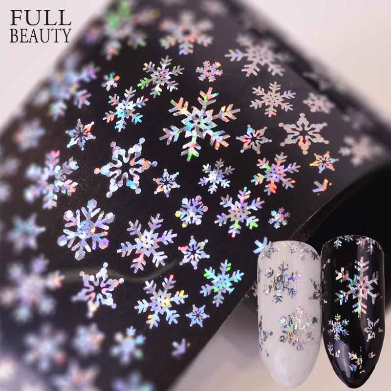 Full Beauty 100x4cm Xmas Pattern for Nail Sticker 3D Snowflake Star Laser Glitter Christmas Nail Art Transfer Foils CHXK94-97