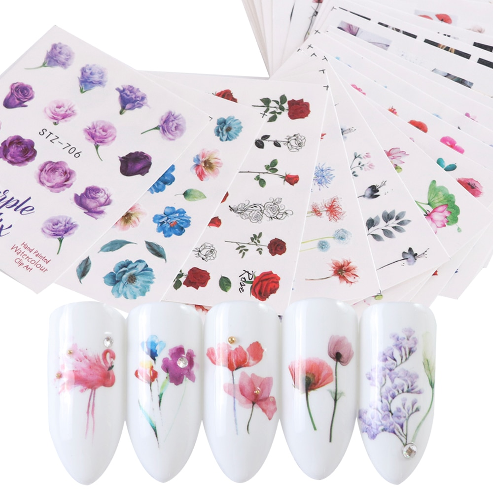 24pcs Watercolor Floral Flower Sticker Nail Decal Set Flamingo Letter Design Gel Manicure Decor Water Slider Foil CHSTZ683-706-1