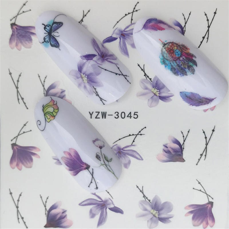 YZWLE  Nail sticker Art Decoration Slider Fox Wolf Animal Adhesive Design Water Decal Manicure Lacquer Accessoires Polish Foil
