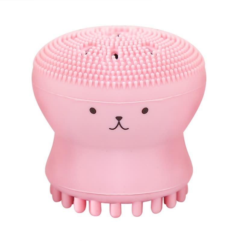 Lovely Cute Animal Small Octopus Shape Silicone Facial Cleaning Brush Deep Pore Cleaning Exfoliator Face Washing Brush Skin Care