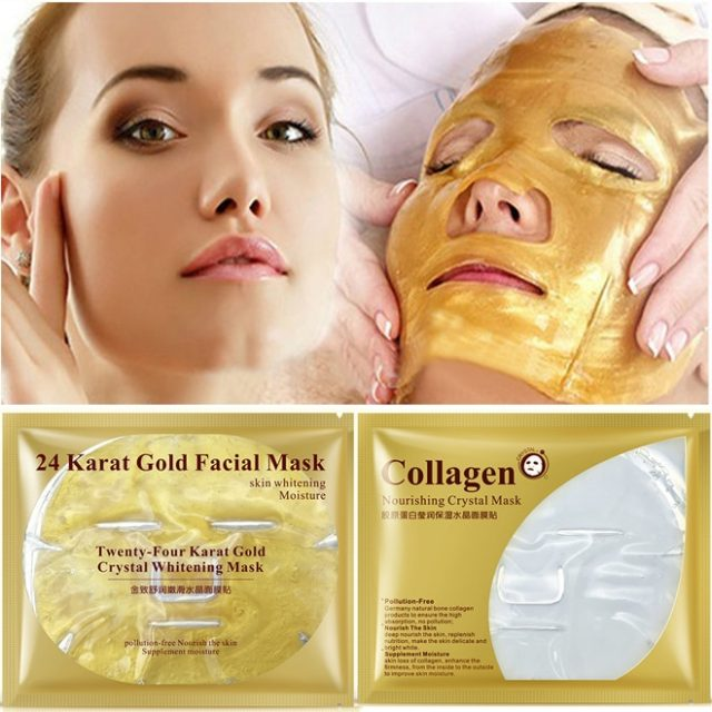 24K Gold Collagen Face Mask Crystal Gold Collagen Facial Masks Moisturizing whitening Anti-aging Skin Care Korean Cosmenics mask
