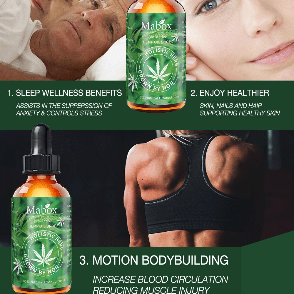 MABOX Hemp Oil, 100% Natural Sleep Aid Anti Stress Hemp Extract Drops for Pain, Anxiety & Stress Relief, 2000mg Contains cbd