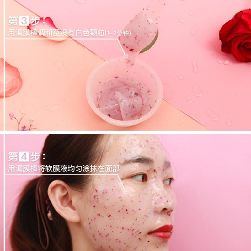 DIY SPA Collagen Rose Hyaluronic Acid Soft Mask Powder Face Mask Anti Aging Anti Wrinkle Peel Off Rubber Facial Mask