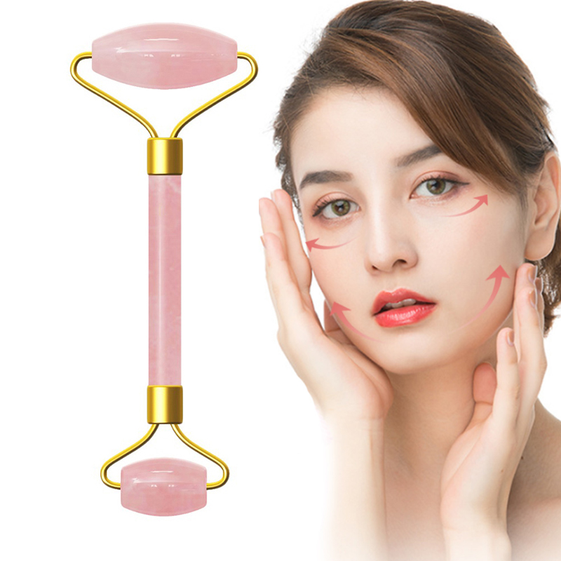 Pink Crystal Stone Jade Roller Set Face Lift Massage Roller Facial Slimming Massager Natural Quartz Stone Neck Massage Tool