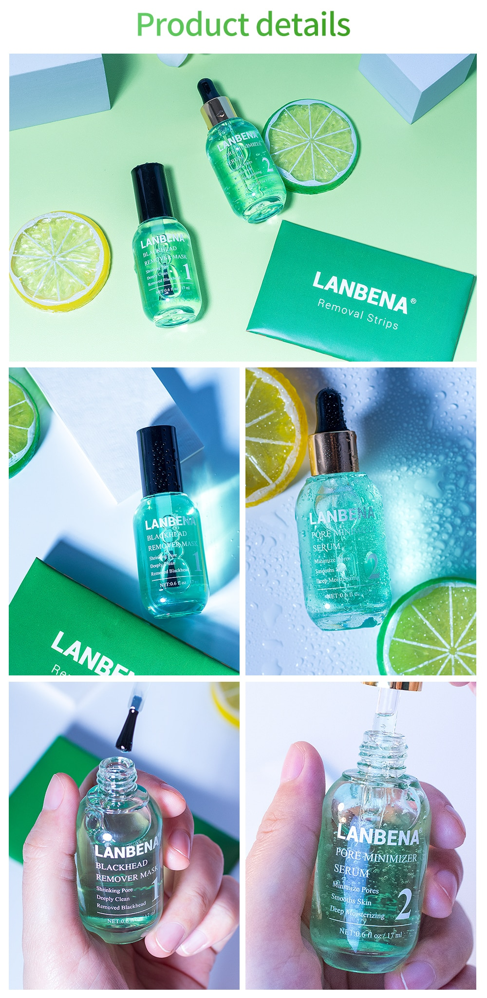 LANBENA Face Serum Blackhead Remover Shrinking Pore Acne Treatment  Deep Cleaning Smoothing Skin Care Firming Essence Beauty Set