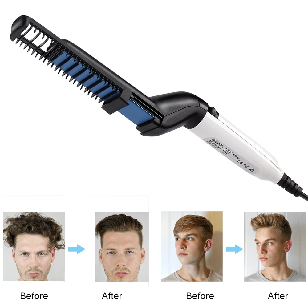 VIP Dropship Men Quick Beard Straightener Styler Comb Multifunctional Hair Curler Show Cap Tool Electric Heating Hair Brush