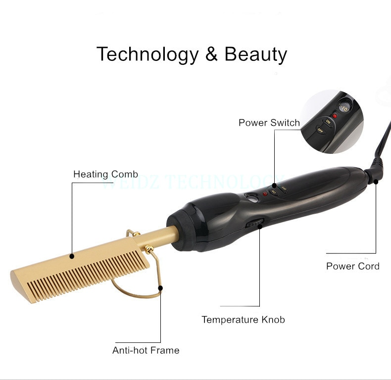 Hair Straightener Iron Hair Curler Iron Comb Wet Dry Hair Pure Copper Head Electric Environmentally Friendly Titanium Alloy YJ4