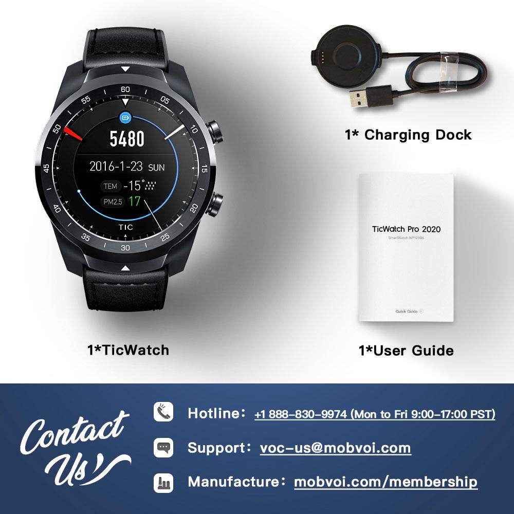 TicWatch Pro 2020 1GB RAM Smartwatch Dual Display IP68 Waterproof Watches NFC Sleep Tracking 24h Heart Rate Monitor Men's Watch