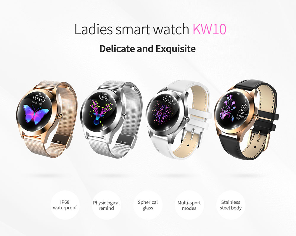 KW10 Smart Watch Women IP68 Waterproof Heart Rate Monitoring Bluetooth For Android IOS Fitness Bracelet Smartwatch