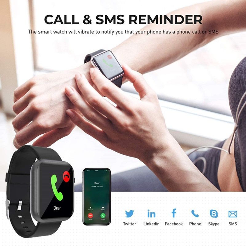 Smart Watch Fitness Tracker Heart Rate Monitor IP67 Waterproof Fitness Watch Pedometer Smartwatch Compatible for iOS Android