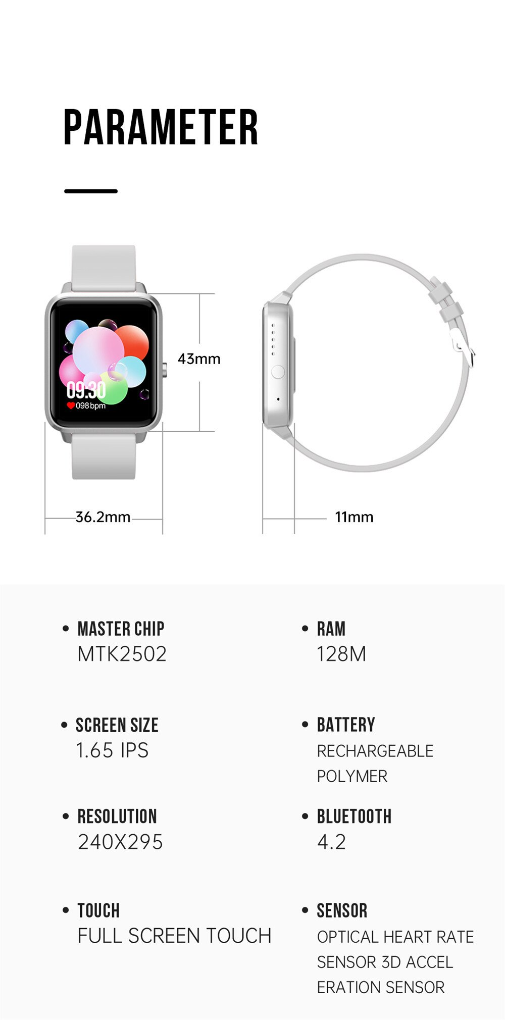 Smart Watch Men 1.65 Inch Full Touch Screen Bluetooth Call Smartwatch Women Blood Pressure Heart Rate Monitor Clock Android IOS