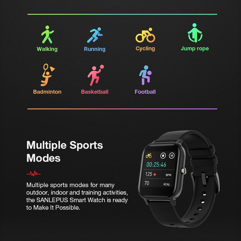 SANLEPUS Full screen touch Smart Watch Wristband Men Women Sport Watch Face Heart Rate Monitor Sleep Monitor IP67 Smartwatch