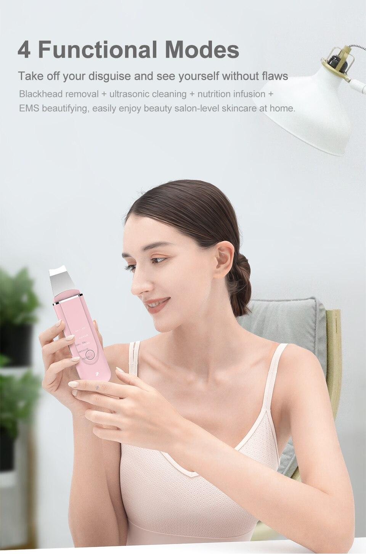 InFace Ultrasonic Facial Skin Scrubber Cleaner Ion Acne Blackhead Remover Peeling Shovel Cleaner Facial Massager Skin Care