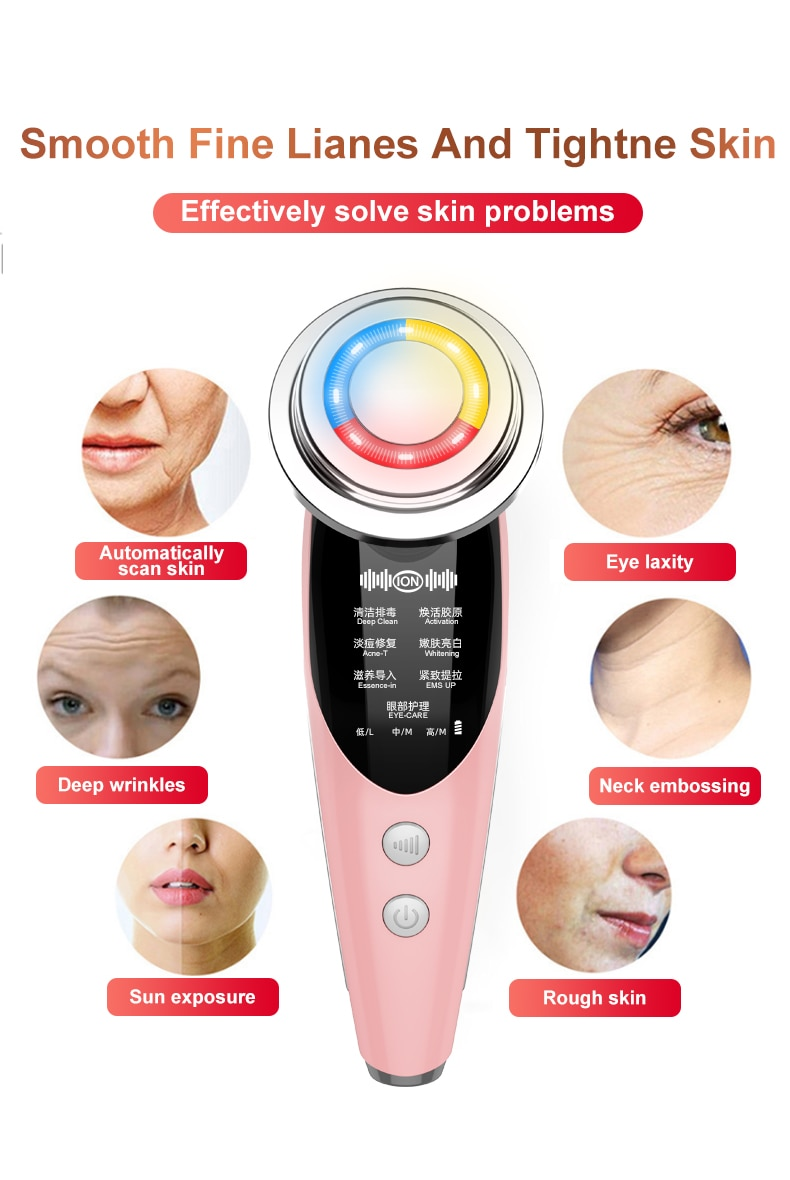 AmazeFan7in1RF&EMS Radio Mesotherapy Electroporation lifting Beauty LED Face Skin Rejuvenation Remover Wrinkle Radio Frequency