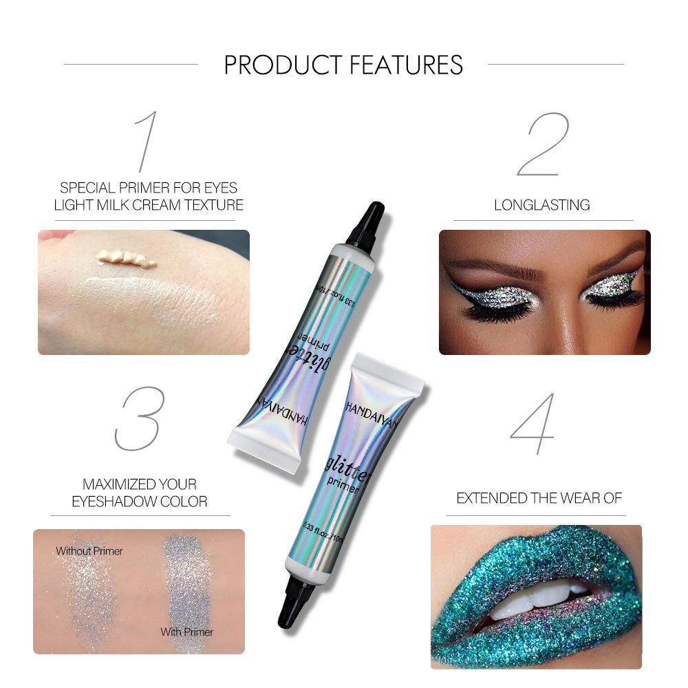 HANDAIYAN Glitter Primer Sequined Primer Eye Makeup Cream Waterproof Sequin Glitter Eyeshadow Glue Korean Cosmetics TSLM2