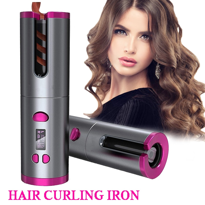 Automatic Hair Curler Auto Ceramic Wireless Curling Iron Hair Waver Tongs Beach Waves Iron Curling Wand Air Curler USB Cordless