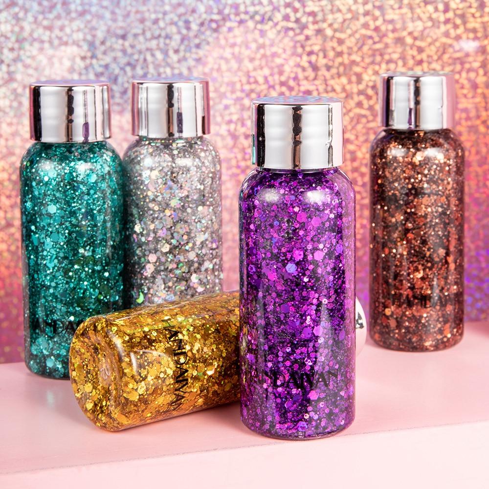 HANDAIYAN 8 Colors Glitter Shiny body Painting Eye Shadow Gel Cream Face Shimmer Body Art Festival Party Eyes Makeup TSLM1