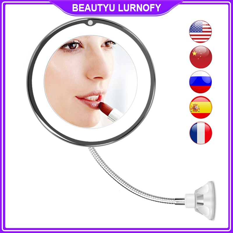 LED Mirror Light Makeup Mirror with Led Light Flexible 10X Magnifying Mirrors Light Cosmetic Miroir Dropshipping Vanity Mirrors