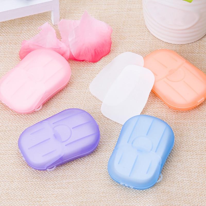 100Pcs/20Pcs Disposable Soap Paper Clean Scented Slice Foaming Box Mini Paper Soap For Outdoor Travel Use Random Color Dropship