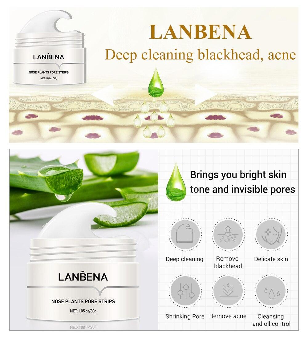 LANBENA New Style Blackhead Remover Nose Mask Pore Strip Black Mask Peeling Acne Treatment Black Deep Cleansing Skin Care korea