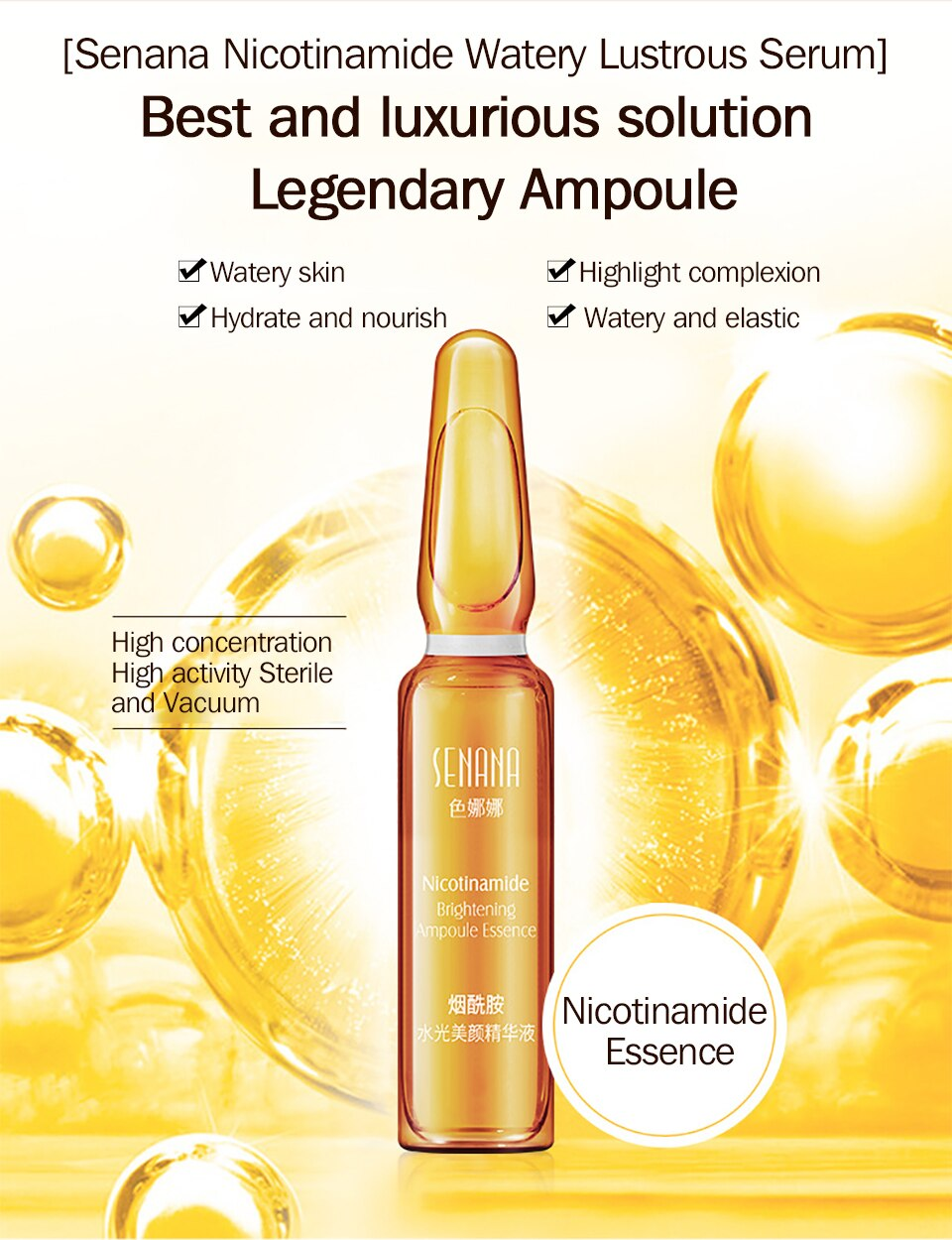 VIBRANT GLAMOUR Niacinamide Anti-Aging Face Serum Gold Ampoule Essence Whitening Moisturizing Lifting Firming Skin Care
